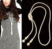 Fine Statement Long Pearl Rhinestone Fashion Necklaces Pendants for Women Jewelry Colar Femininos 2015 Accessories Bijuterias
