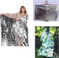 Via Fedex/TNT, Size 130X210cm Outdoor Emergency Blanket Survival Foil Thermal Blanket Silver Rescue Mat, 200pcs