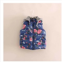 2014 new fashion fall and winter foreign trade flower print hooded vest & waistcoats baby girls thicken cotton-padded vest
