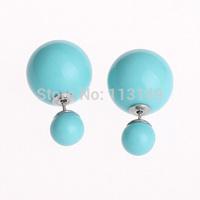 Hot Sale Fashion Mise En Tribal Imitation Pearl Double Balls Stud Earrings CTBE16-002