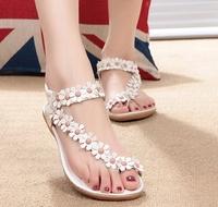 New 2014 women's bohemia sandals women's shoes flip beaded flower flat flip-flop flat heel shoes B