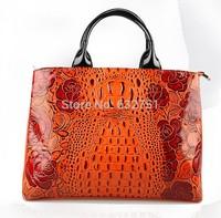 REAL LEATHER 2014 New Rose Crocodile Pattern Genuine Leather Women Handbags Brand Ladies Cowhide Bride Bags Women's Bags