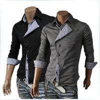In the fall of 2014 new Korean black color oblique placket Mens Long sleeve cardigan sweater