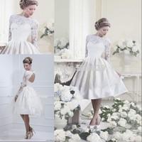 Custom Made 2014 short wedding dress Keyhole Back long sleeve wedding dress Sexy Short 2014 beach wedding dress Plus Size