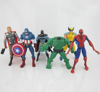 The Avengers Captain America Spiderman Thor Batman Hulk Wolverine Action Figures Toy PVC Figure 15cm 6pcs=1set by DHL 300pcs/lot