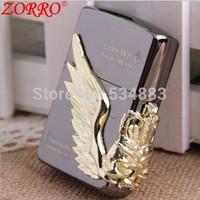 Top quality Golden love wing metal windproof flame kerosene oil lighter Zorro cigarette lighter with gift box