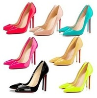 2014 Plue Size 35-40 Candy Color Thin Heel Pointed Loyal Blue Women's Pumps High Heels Red Bottom Vintage Sexy Women shoes