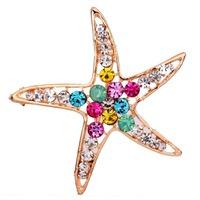 Wholesale Colorful Starfish  Design Inlay  Brooch Pin Rhinestone Brooch  Free Shipping