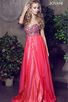 2014 New Fashion Sweetheart Red With Crystal With Long Chiffon  Evening Dress Formal Dress Prom Dress Or Custom Made