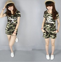 Summer military 2014 Camouflage t-shirt female short-sleeve shorts set slim casual Army Green 2 piece set