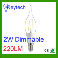 Dimmable 2W 2pcs filament with 220LM E27 E14 2700k&6000k led lamps 220-240v warm/cold white led candle bulb for chandelier