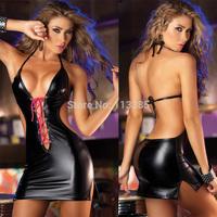 Free shipping Fashion HOT Japanned leather sexy lingerie one piece sleepwear set sexy women's costume nightclub ds bodysuit