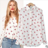Drop Shipping Fashion Chiffon Turn-down Collar Full Sleeve White Mouth Print Chiffon Women Blouses SB-001 Free Shipping