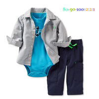 wholesale baby autumn clothing sets. stripe shirt + rompers+ pant. long sleeve coat . fashion infant clothing, casual outfit