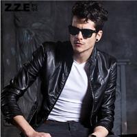 free shipping  2014 New style men large size leather jacket fashion genuine leather coat men motorcycle leather jacket coat