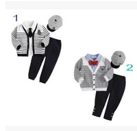 Autumn Children Suit  Boys  Stripe suit with cap little gentleman boy clothing set   SL208 retail free shipping