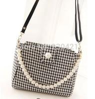 Free shipping 2014 new women's handbag one shoulder casual bag Pearl Chain houndstooth print bag women messenger bag