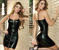 Free Shipping New Hot-Selling Women Sexy Lingerie Black PVC Zipper Dress+G-string Set Lady's Clubwear Uniforms Costumes KTV BAR