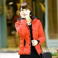 New 2014 Women Korean Winter Fashion Coat Warm Zipper Button Slim Lady Outdoor Jacket  Parkas Plus Size XL-4XL1104