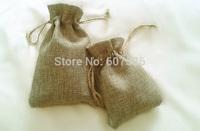 JLB wholesale 8x11cm/3x4 inch 100pcs Faux jute/Hessian Mini Drawstring Bags wedding bomboniera Gift burlap bags Free Shipping