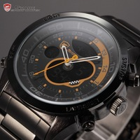 Snapper Shark Series Dual Movement Black Orange Alarm Stopwatch Calendar Multi-function Sport Men Gift Quartz Watch / SH142