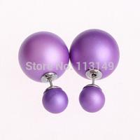 Wholesale Fashion Mise En Acrylic Double Imitation Pearl Stud Earrings For Women CTBE16-012