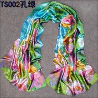 50cm*160cm Ladies Fashion Shawl Polyester Silk Print Flower Pattern Scarf New Brand Satin Women Novelty Scarf Wraps Hote sale