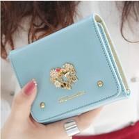 2014 new arrival women fashion cute diamond original mental love rivet lady's short design wallet purse free shipping
