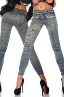 New Women Sexy Tattoo Jean Look Legging Sport Leggins Punk Fitness American Apparel Jeans Woman Pants 9022