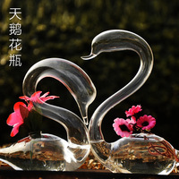 Free Shipping 1PCs Fashion Swan Mxmade glass vase hydroponic Flower wedding gift derlook the new house decoration crafts