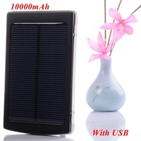 1pc Solar Power Bank 10000mAh Aluminium Output 5V 2A Charger Including 1* USB for iphone for smartphone, mp3, mp4
