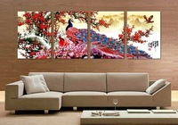 4 Panel modern wall art home decoration frameless oil painting canvas prints pictures P526 peacock plum blossom paintings