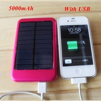 1pc Solar Power Bank 5000mAh Aluminium Output 5.5V 1.5A Charger Including 1* USB for iphone for smartphone, mp3, mp4