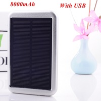 1pc Solar Power Bank 8000mAh Solar Backup Portable Power Pack Mobile Charger PowerBank for iphone/samsung/xiaomi/ Universal