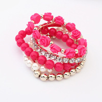 Euramerican Fashion Exquisite Luxury Sweet 6 Candy Color Multi-layer Stretch Pearl Bracelet For Women