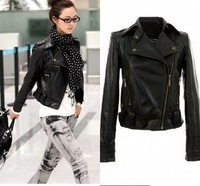 Free Shipping 2014 New Fashion Autumn Casual Leather Jacket Lapel Zipper Punk Rivet Faux Leather Biker Jacket [2 70-4040]