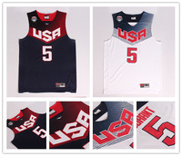 2014 Basketball World Cup Team USA Basketball Jerseys  #5 Kevin Durant White Blue New Material Embroidered Sport Shirt