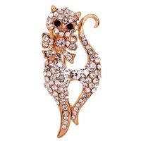 Crystal Animal  Cat White  Crystal Black Eye  Brooch  Inlay Gold  Plated  Brooch  Pins Free Shipping