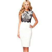 2014 elegant White Black Lace Overlay Sleeveless desigual women office dresses Midi Dress vestido branco de festa