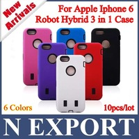 "10PCS High Quality High Impact 3 in 1 Hybrid Combo Silicone+PC Robot Cover Case for Apple Iphone 6 4.7"" [IP6-05]"