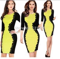 2014 New Spring Autumn Celeb Bodycon Bandage Dress Women Fashion Office Dress Elegant Pencil Lace Patchowrk Dress Hot Sale