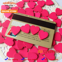 Free Shipping (1000pcs/lot) Miniature Wooden Love Heart Pieces for Craft Card Making Home Decoration- 18mm - Bright Pink