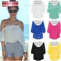 new fashion summer autumn chiffon sexy  long sleeve plus size casual blusas femininas 2014 crop top t shirt women t-shirt