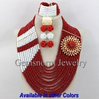 Exclusive Burgundy Wine Nigerian Wedding African Beads Jewelry Set Big Full Beaded Costume Jewelry Set Free Shipping GS305
