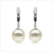 925 pure silver platinum pearl ear shell earring for women as gift
