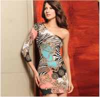 Free shipping the new 2014 oblique led shoulder high elastic sexy women's clothing Printing fashion ladies dress