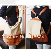 2014 New casual lady canvas patchwork pu leather shoulder letter bag slanting cross messengers bag