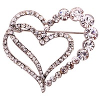 Wholesale Heart Crystal Hollow  Inlay Sliver Plated Wedding  Brooches Pins