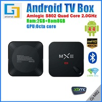 MXIII Smart TV Box quad-core Amlogic S802 2Ghz RAM 2G ROM 8G Dual band Wi-Fi HDMI 4K Android 4.4 XBMC media player