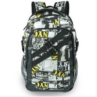 Free shipping 2014  man fashion men's travel backpacks scrawl letters school bags big capacity backpack bag for notebook  canvas